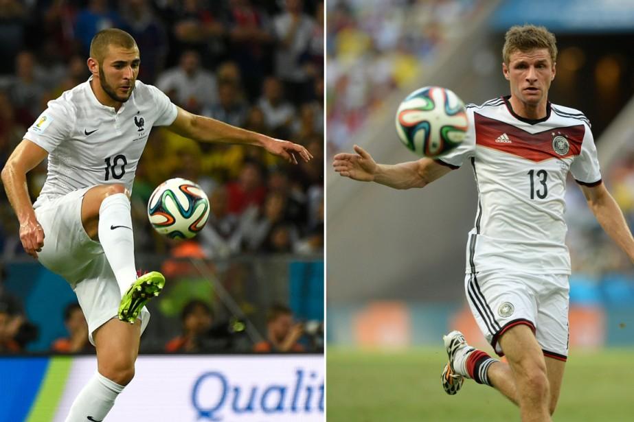 Les attaquants Karim Benzema, de la France, et... (Photos AFP)