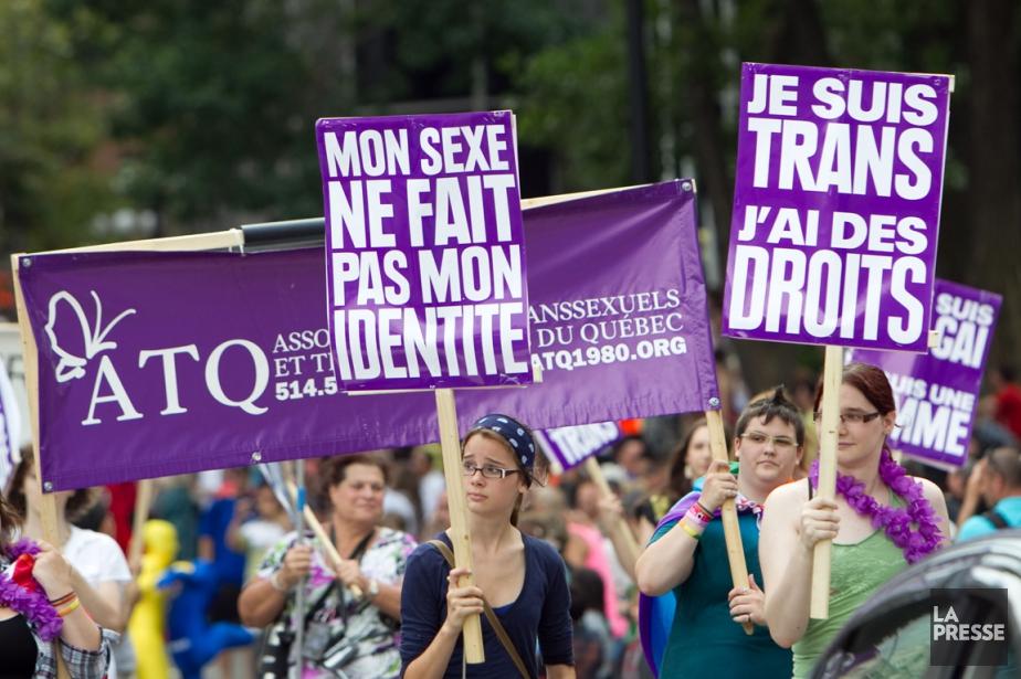 Une manifestation de l'Association des transsexuelsettranssexuellesdu Québec,en août... (PHOTO HUGO-SÉBASTIEN AUBERT, ARCHIVES LA PRESSE)