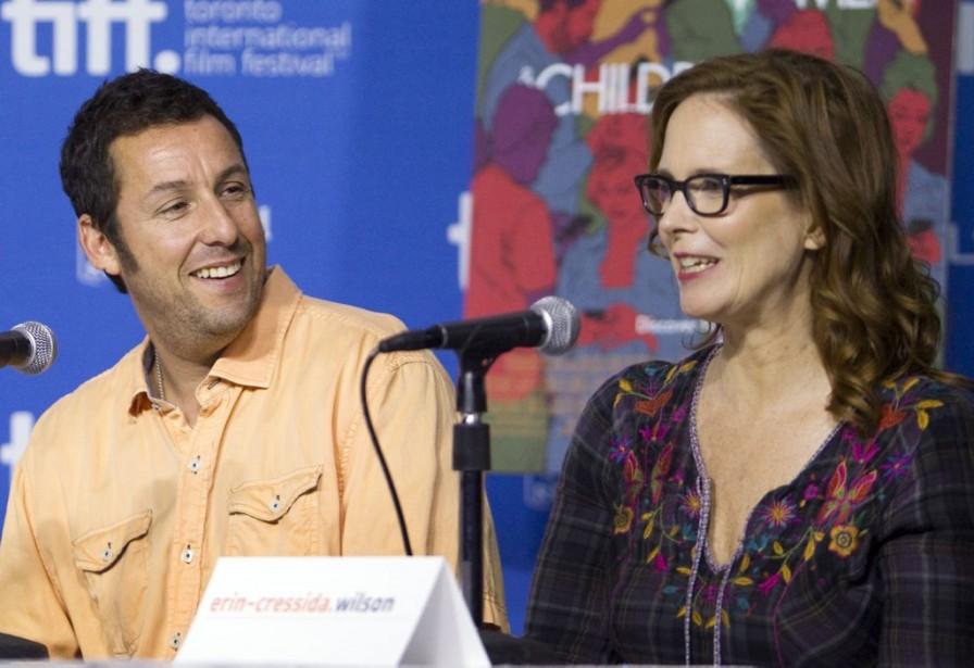Jour 3 -L'acteur Adam Sandler et la scénariste Erin Cressida Wilson en conférence de presse pour le film <em>Men, Women &amp; Children.</em> (PHOTO FRED THORNHILL, REUTERS)