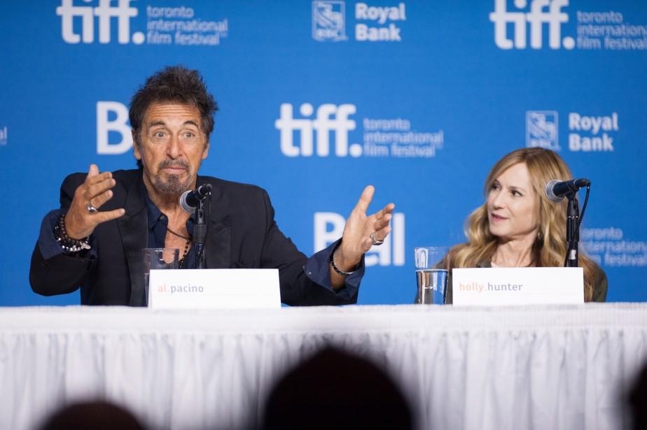 Jour 4 - Al Pacino et l'actrice Holly Hunter à une conférence de presse pour le film Manglehorn. (Photo Hannah Yoon, PC)