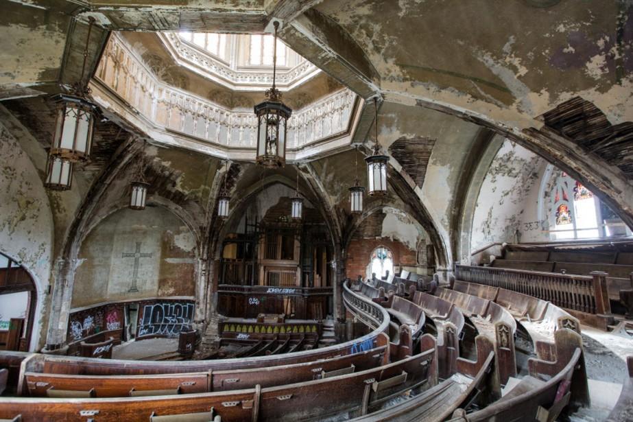 The Woodward Presbyterian Church, inscrite au Registre national des bâtiments historiques américains, est la cible des pilleurs. (Photo Edouard Plante-Fréchette, La Presse)