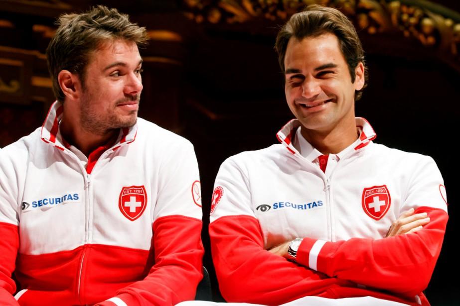 Stanislas Wawrinka et Roger Federer... (Photo archives AP)