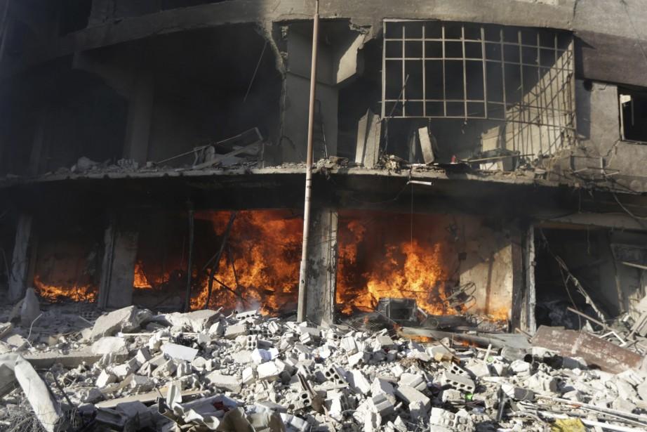 Au total, l'aviation syrienne a mené six raids... (Photo Bassam Khabieh, Reuters)