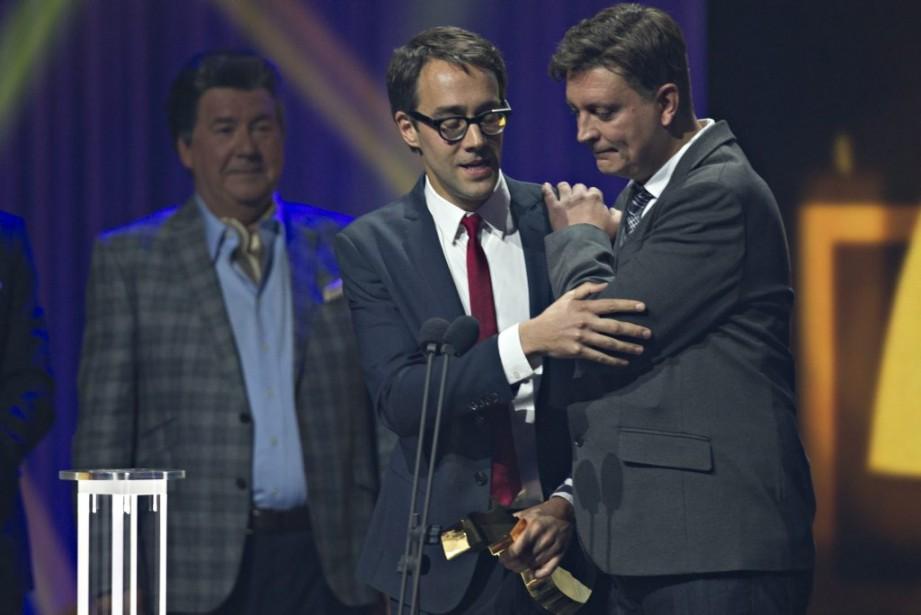 Le trophée du meilleur texte pour une série dramatique est allé à François Létourneau et Jean-François Rivard, pour la première saison de<em>Série noire</em>. (Olivier Jean, La Presse)