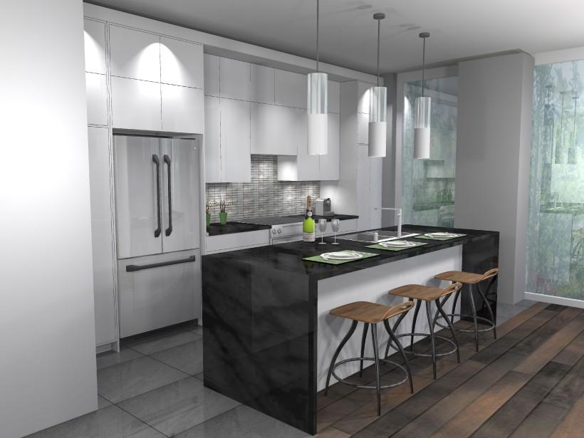 De la cuisine, la nature pourra être admirée à travers les grandes fenêtres, qui iront pratiquement du plancher jusqu'au plafond. (ILLUSTRATION FOURNIE PAR LE GROUPE MAGMA)