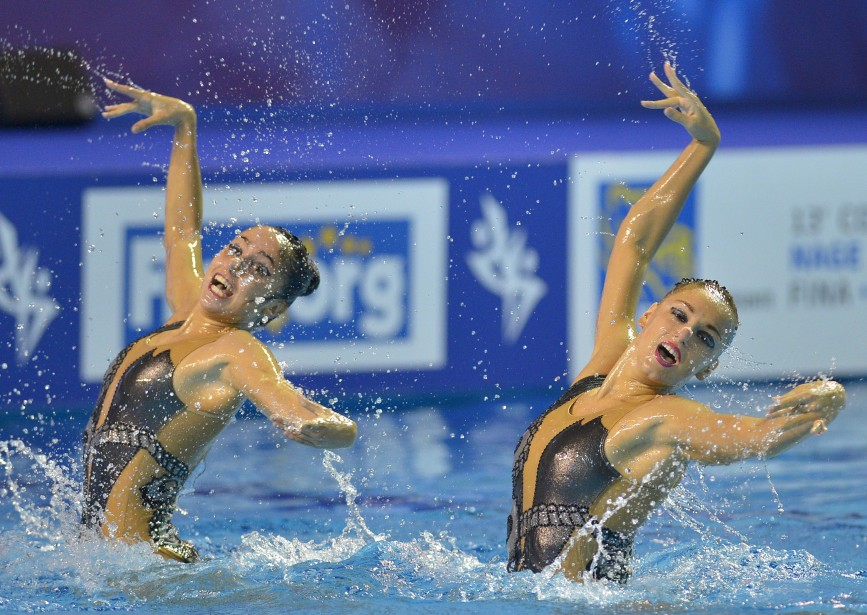 Les nageuses grecques en finale du duo libre (4 octobre) (Le Soleil, Yan Doublet)
