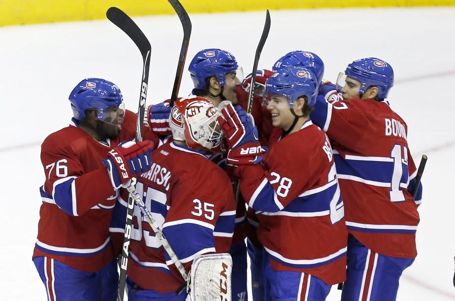 Les joueurs du Canadiens festoie après leur victoire. (Photo Geoff Burke, USA Today)
