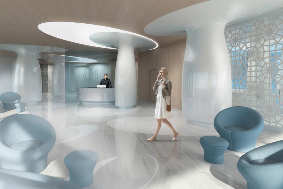 Le luxueux complexe Aquablu sera situé en bordure de la rivière des Prairies, à Sainte-Dorothée (Laval). Un peu partout, le thème de l'eau et des vagues sera exploité. Voici par exemple de quoi aura l'air le hall d'entrée. ()