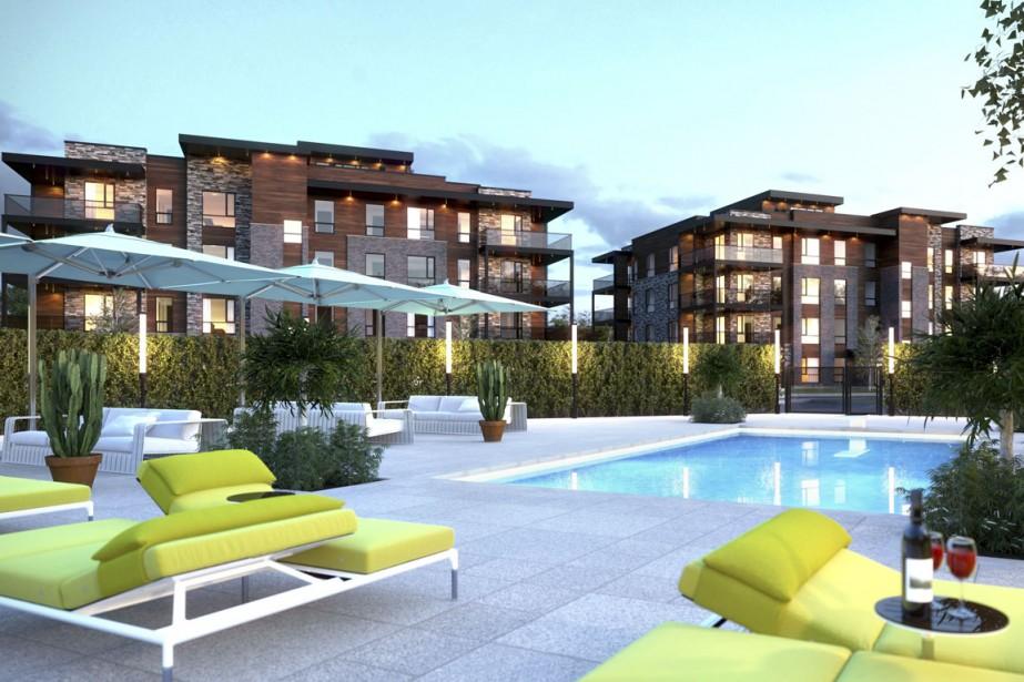 L'an prochain, les copropriétaires devraient avoir accès à une piscine extérieure chauffée et à un chalet urbain. (Illustration fournie par Construction Danam Bonsaï)