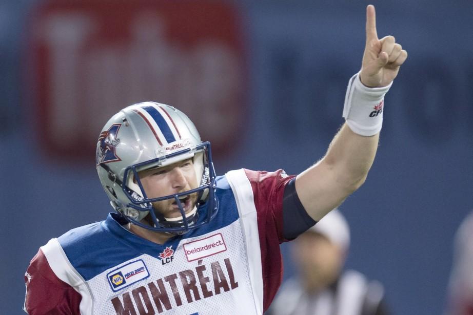 Le quart Tanner Marsh festoie après avoir marqué... (Photo Frank Gunn, La Presse Canadienne)