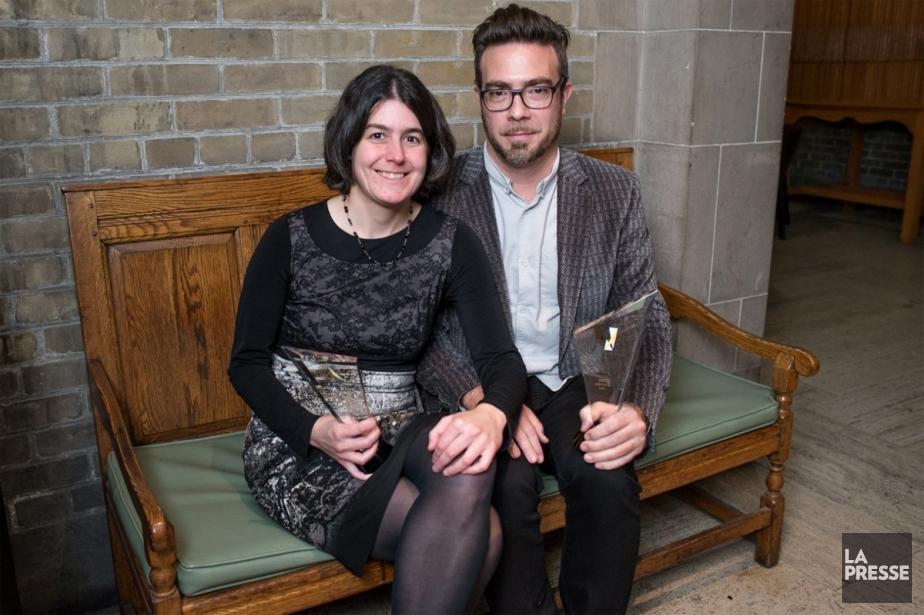 Le dramaturge québécois Olivier Choinière et sa protégée... (Photo: Prix Siminovitch, tirée de Facebook)