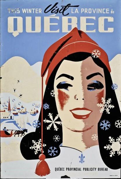 <strong><em>VISIT</em> LA PROVINCE DE QUÉBEC</strong> : Cette affiche commandée par le Bureau de lapublicité du Québec à l'artiste Roger Couillard et destinée au marché américain met en évidence «l'exotisme de l'hiver québécois». Artiste résolument moderne, Roger Couillard a été l'undes plus importants illustrateurs d'affiches touristiques au Québec. ()