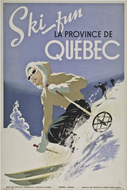 <em><strong>SKI FUN</strong></em> : Le ski a toujours été au coeur de l'offre touristique québécoise. Encore une fois destinée à un marché anglophone, cette autre réalisation d'Ernest Senécal (vers 1948) montre la polyvalence de l'artiste, qui adopte des lignes beaucoup plus dynamiques dans sa description de cette activité hivernale. (Photo: image fournie par BAnQ)