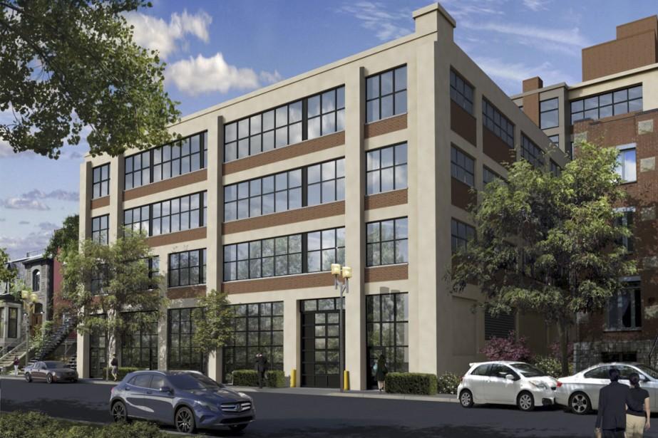 Un ancien entrepôt, construit vers 1920, sera métamorphosé à l'intérieur pour devenir le complexe Condominiums Ogilvy Warehouse. (Illustration fournie par Développements Hip)