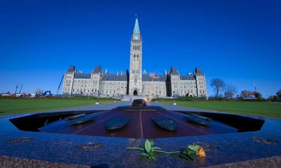 Une fleur laissée près de la flamme du centenaire, devant le Parlement. (Photo André Pichette, La Presse)