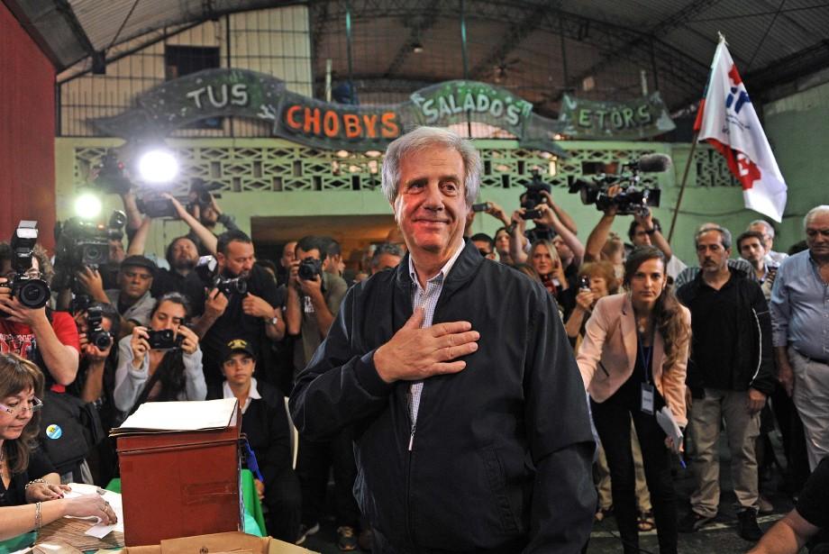 Le favori des sondages, Tabaré Vazquez, a fait... (Photo MIGUEL ROJO, AFP)