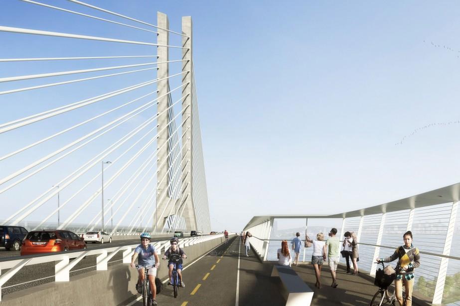 Illustration du pont qui remplacera l'actuel pont Champlain... (PHOTO FOURNIE PAR INFRASTRUCTURE CANADA)