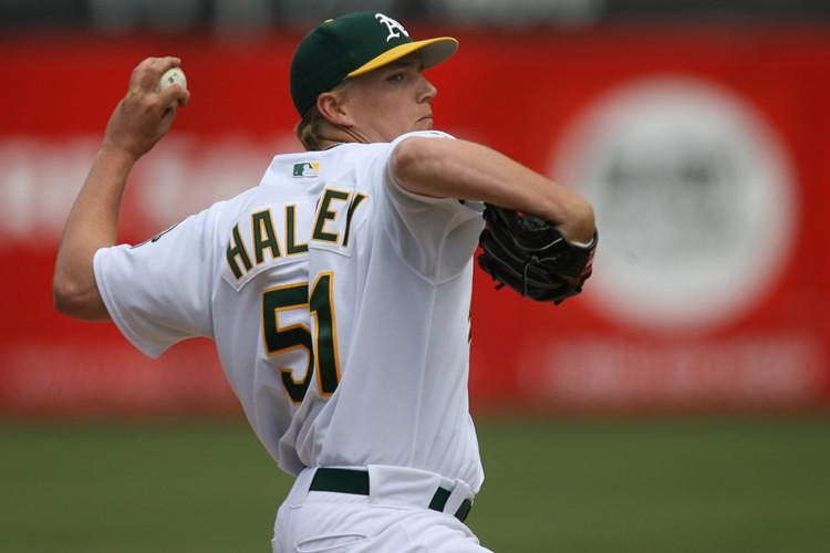 Brad Halsey dans l'uniforme des A's d'Oakland.... (Archives AFP)