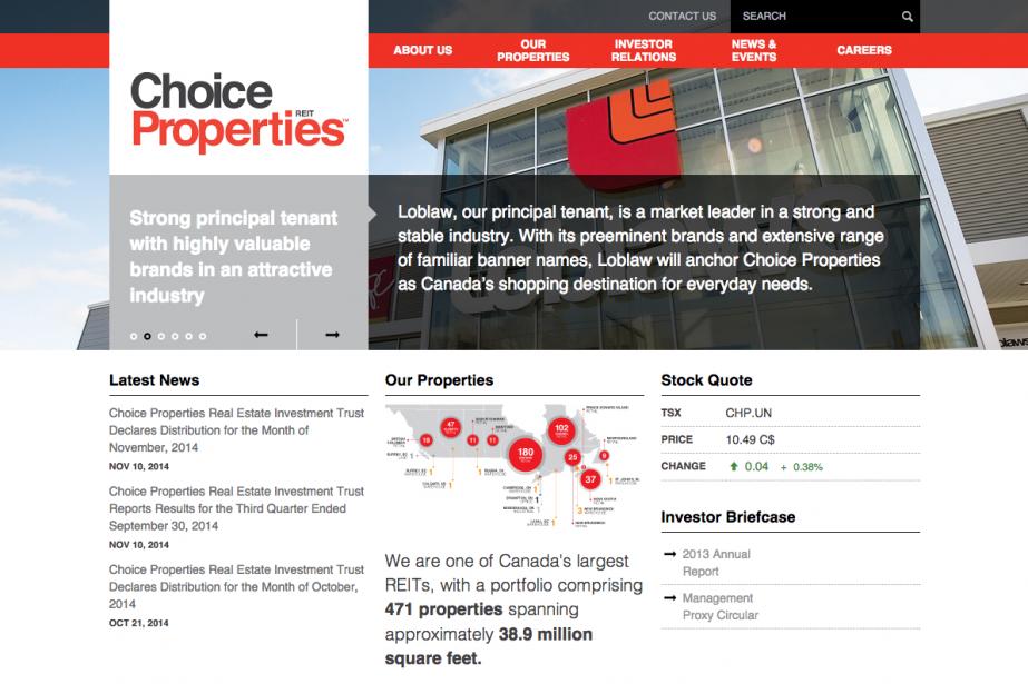 Propriétés de choix est une fiduciede placement immobilier... (Capture d'écran de choicereit.ca)