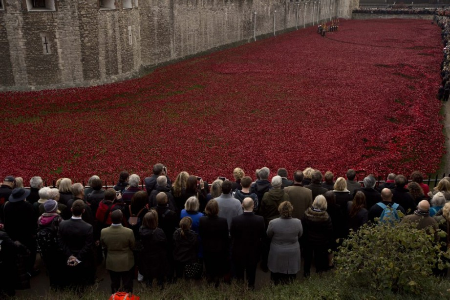 À Londres, les gens se sont recueillis devant l'installation de coquelicots en céramique de l'artiste Paul Cummins. (PHOTO MATT DUNHAM, ASSOCIATED PRESS)