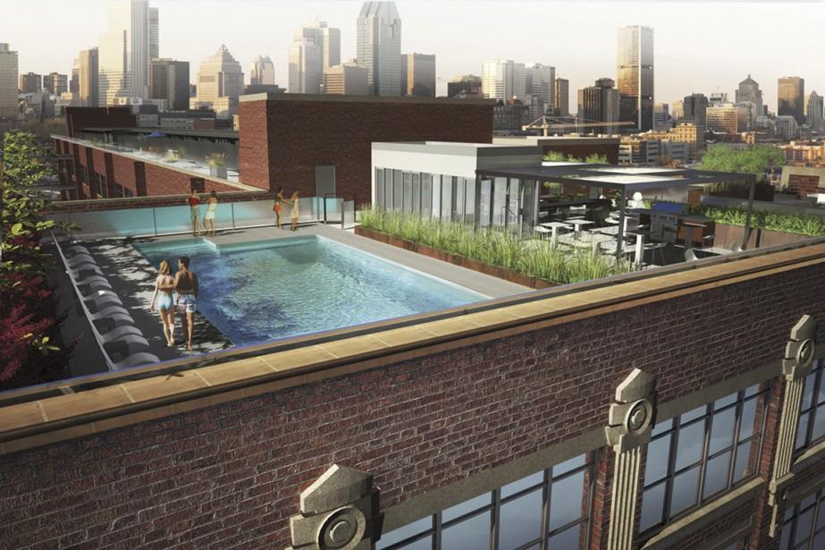 Il y aura une piscine et une terrasse sur le toit, avec une aire pour le barbecue afin que tous profitent de la vue. (Illustration fournie par Développement Nordelec)
