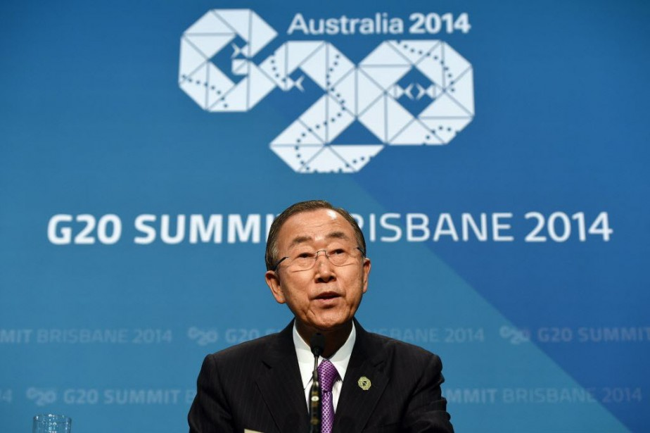 Le secrétaire général de l'ONU, Ban Ki-moon,a observé... (Photo Saeed Khan, AFP)