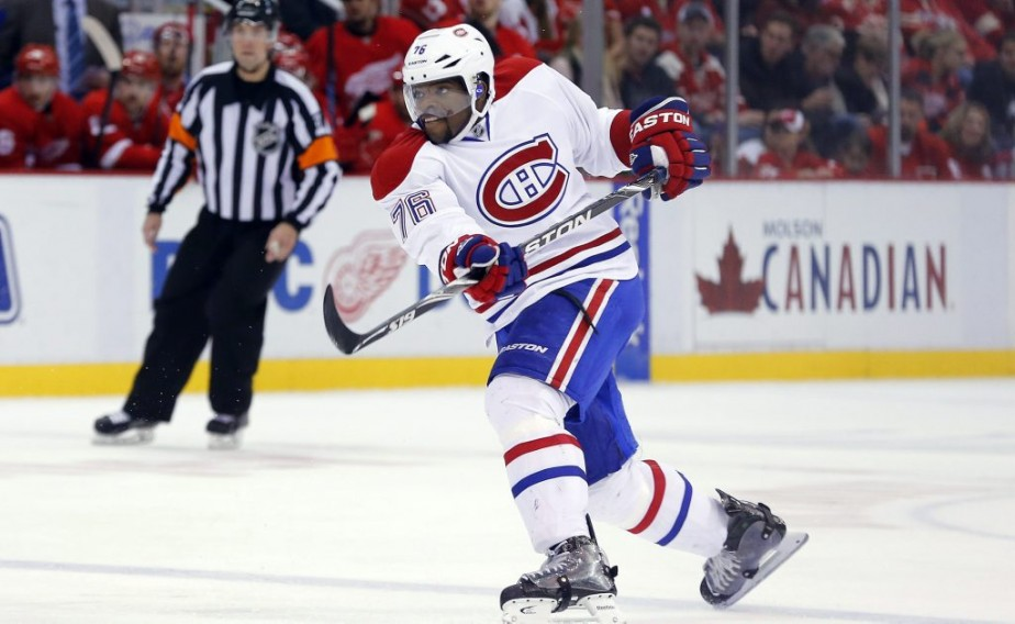 P.K. Subban a trompé le gardien des Wings. (Photo AP)