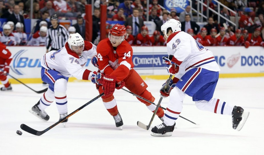 Gustav Nyquist attaqué de toutes parts. (Photo AP)