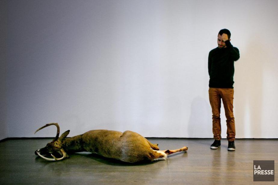 Abbas Akhavan devant un cerf de Virginie empaillé... (Photo: Marco Campanozzi, La Presse)