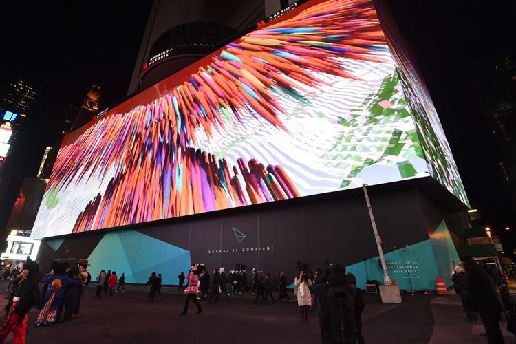 Installé sur la façade d'un hôtel, l'écran fait... (Photo: AFP)