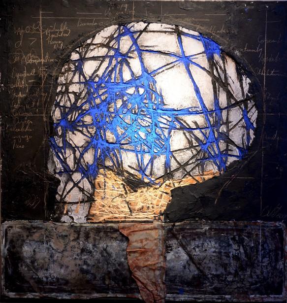 <em>Vanitas: memento mori</em> (2001), acrylique, crayon, goudron et papier goudron sur bois gravé (Le Soleil, Erick Labbé)