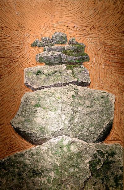 <em>Giant's Leap</em> (1989), acrulique sur bois gravé (Le Soleil, Erick Labbé)