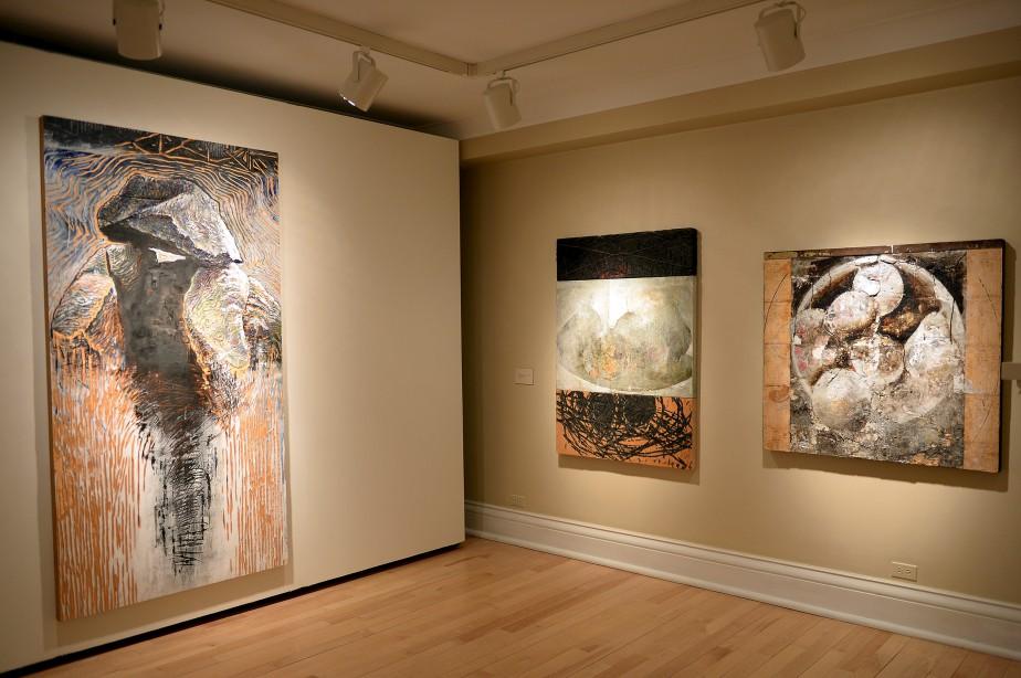 À gauche:<em> Lord of the Oysters</em> (1990), acrylique sur bois gravé et brûlé (Le Soleil, Erick Labbé)