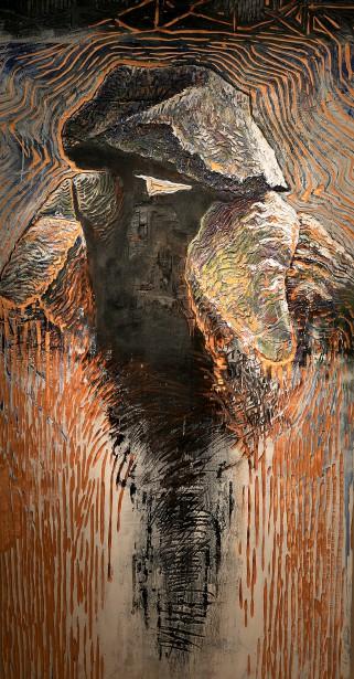 Détail de <em>Lord of the Oysters</em> (1990), acrylique sur bois gravé et brûlé (Le Soleil, Erick Labbé)