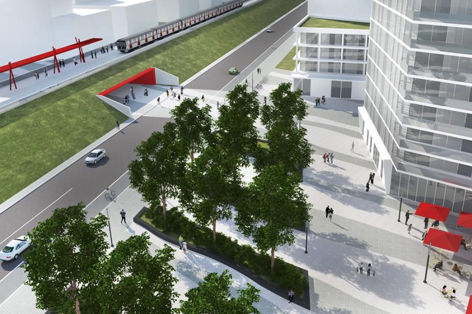 Montréal-Nord veut profiter de la gare pour revitaliser le boulevard Pie-IX. Voici ce que pourrait avoir l'air intersection des boulevards industriel et Pie-IX (coin nord-ouest), où se trouvent présentement une épicerie Maxi et un commerce U-Haul. Le changement serait majeur si ceux-ci s'intégraient au rez-de-chaussée d'immeubles de plusieurs étages. Le stationnement serait à l'arrière des édifices. (Illustration fournie par l'arrondissement de Montréal-Nord)