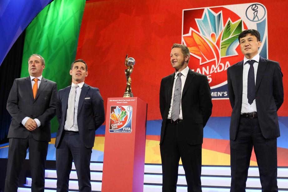 Les entraîneurs des équipes formant le groupe A (celui du Canada):Roger Reijners (Pays-Bas),John Herdman (Canada),Tony Readings (Nouvelle-Zélande) etHao Wei (Chine). (Patrick Woodbury, LeDroit)
