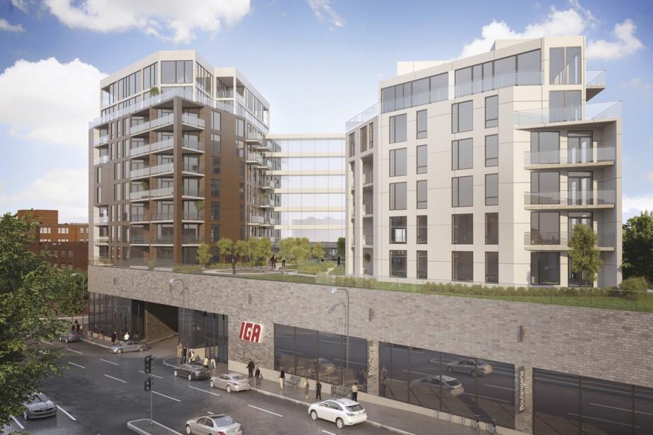Les deux tours de 8 et 11 étages du Beaumont NDG Condominiums seront reliées par des passerelles vitrées. Les immeubles s'élèveront au-dessus d'une vaste épicerie de 35 000 pi<sup>2</sup> de l'enseigne IGA. (Illustration fournie par DEVMcGill)