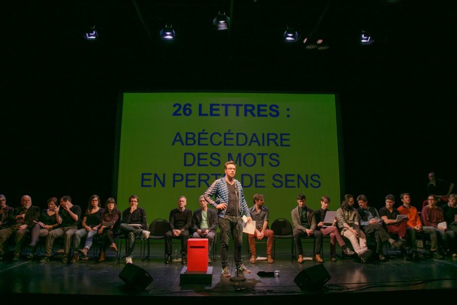 Olivier Choinière au spectacle 26 lettres: abécédaire des... (Photo fournie par Sébastien Gros)