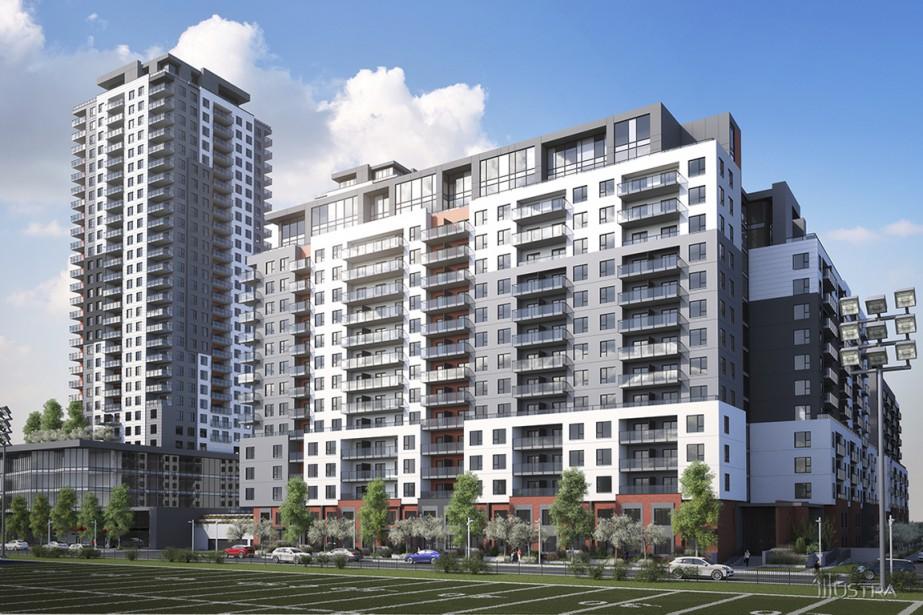 Un complexe Urbania 2 occupera graduellement le terrain vague situé de biais avec la station de métro Montmorency, à Laval. Un immeuble de 16 étages, comportant 212 condos, sera construit dans un premier temps. (Illustration fournie par la Société de développement Urbania)