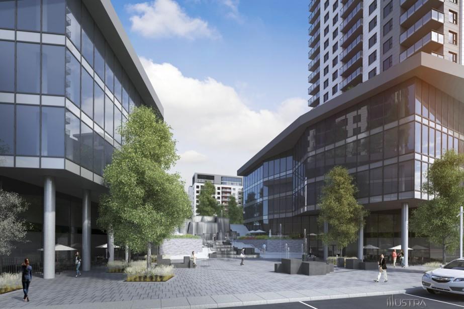 Urbania 2 contribuera à créer un véritable milieu de vie grâce aux commerces et aux restaurants avec terrasse qui s'établiront au rez-de-chaussée des deux tours les plus hautes. (Illustration fournie par la Société de développement Urbania)