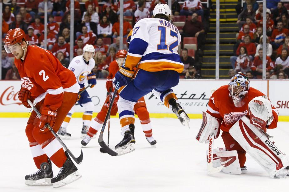 Anders Lee a tiré la rondelle tout juste derrière la... (Photo USA Today Sports)