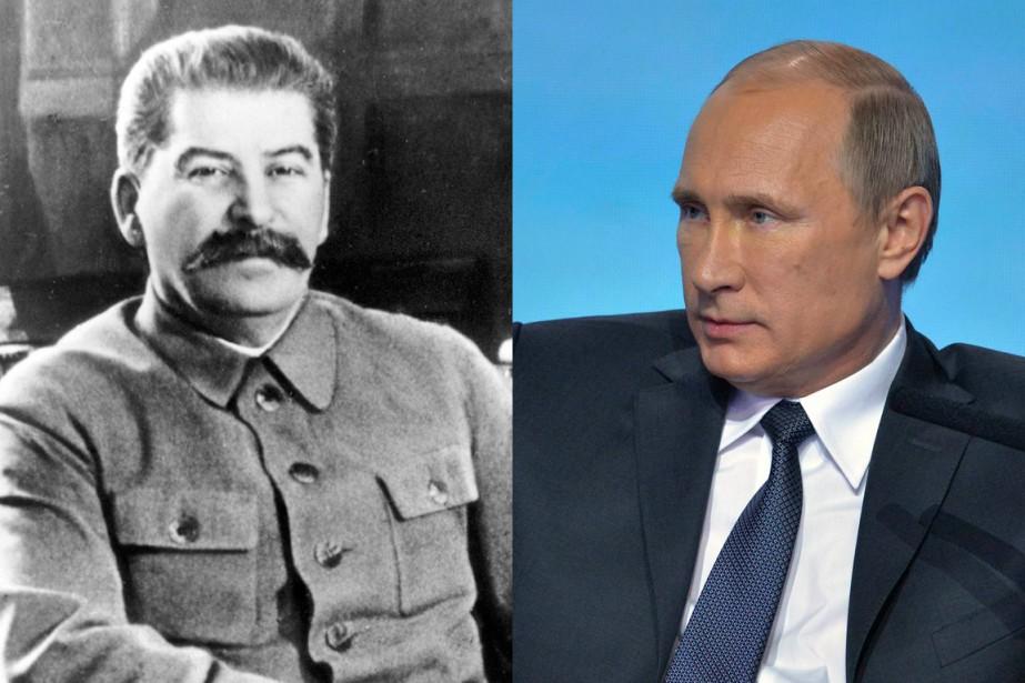 Joseph Staline et Vladimir Poutine... (PHOTO ARCHIVES AP ET REUTERS)