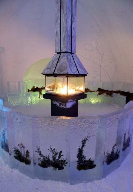 Aubar, un imposant foyer est entouré de végétaux «prisonniers» des glaces. (Le Soleil, Erick Labbé)