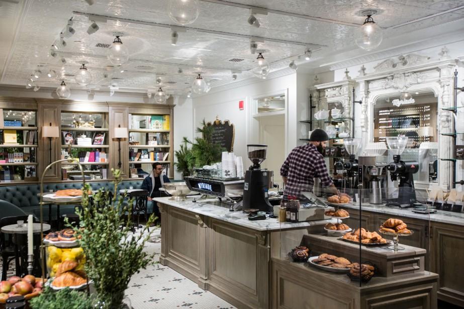 Le sous-sol de la nouvelle boutique Club Monaco, à l'angle des rues Sainte-Catherine Ouest et Metcalfe, accueille la dernière succursale du café Myriade. (Photo Edouard Plante-Fréchette, La Presse)