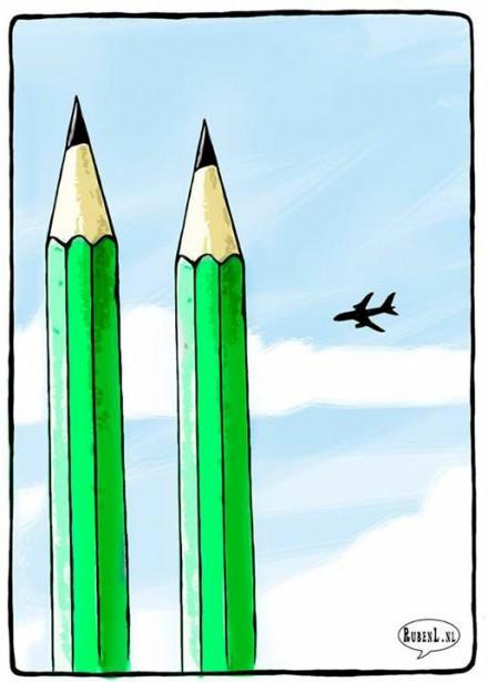 Le caricaturiste hollandais Ruben L. Oppenheimer a eu l'idée de transformer les défuntes tours jumelles du World Trade Center en crayons. | 7 janvier 2015