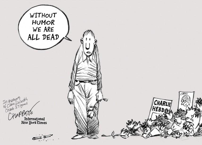 Sans humour nous sommes tous morts», prévient le Suisse Patrick Chappatte, qui signe son dessin pour l' International New York Times . | 7 janvier 2015
