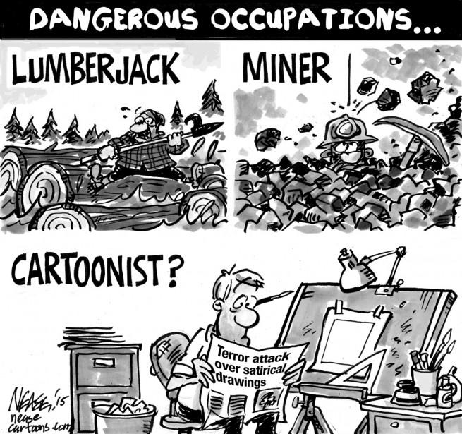 Le caricaturiste canadien Steve Nease s'interroge à savoir si le métier de caricaturiste doit être considéré comme dangereux. | 7 janvier 2015
