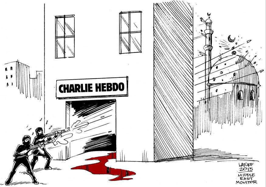 Dans la proposition de Carlos Latuff, publiée par le Middle East Monitor, au Royaume-Uni, les armes de l'agresseur se retournent contre ses propres croyances.   | 7 janvier 2015