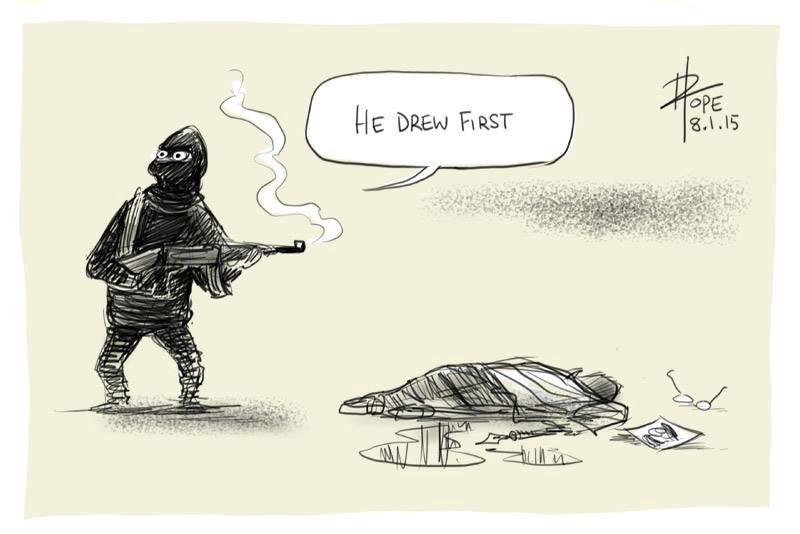 «Il a dessiné le premier», s'exclame le terroriste dessiné par David Pope. L'Australien qui oeuvre pour le <i>Canberra Times</i> a écrit sur sa page Facebook : «Je ne peux dormir, ce soir, mes pensées sont avec mes collègues caricaturistes français, leurs familles et leurs êtres chers.»<strong></strong> (Canberra Times,  David Pope)