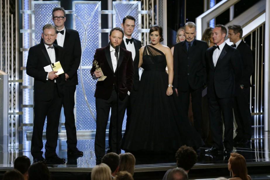 Noah Hawley reçoit le prix reçoit le Golden Globes du Meilleur téléfilm ou mini-série pour <em></em><em>Fargo</em>. (Photo Paul Drinkwater, AP)